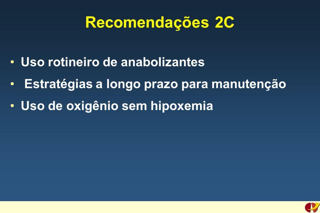 Recomendações 2C Uso rotineiro de anabolizantes Estratégias a longo prazo para manutenção Uso de oxigênio sem hipoxemia