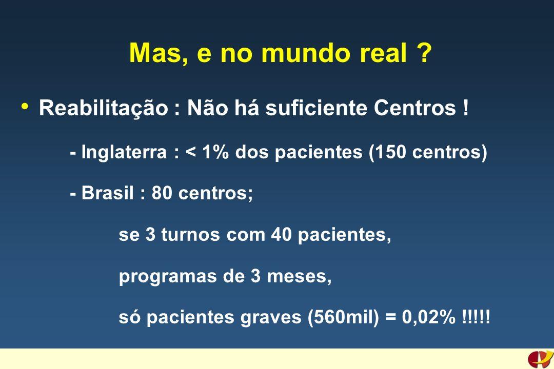 Mas, e no mundo real ? Reabilitação : Não há suficiente Centros ! - Inglaterra : < 1% dos pacientes (150 centros) - Brasil : 80 centros; se 3 turnos c