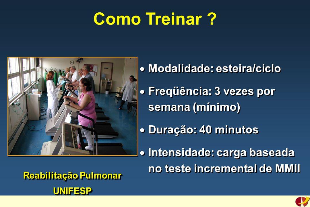 Reabilitação Pulmonar UNIFESP Como Treinar ? Modalidade: esteira/ciclo Freqüência: 3 vezes por semana (mínimo) Duração: 40 minutos Intensidade: carga