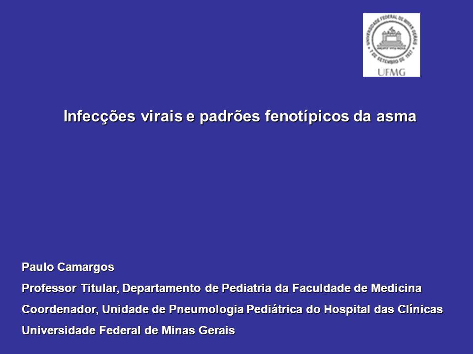 Infecções virais e padrões fenotípicos da asma Infecções virais e padrões fenotípicos da asma Paulo Camargos Professor Titular, Departamento de Pediatria da Faculdade de Medicina Coordenador, Unidade de Pneumologia Pediátrica do Hospital das Clínicas Universidade Federal de Minas Gerais