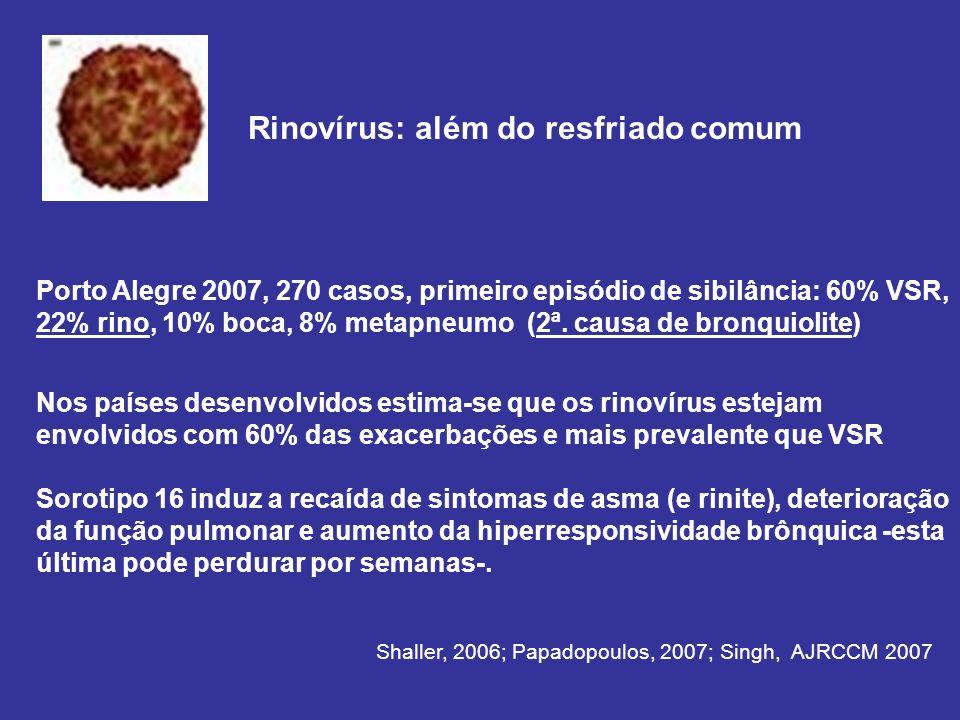 Porto Alegre 2007, 270 casos, primeiro episódio de sibilância: 60% VSR, 22% rino, 10% boca, 8% metapneumo (2ª.