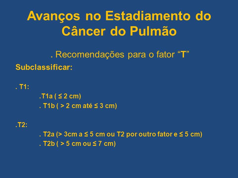 Avanços no Estadiamento do Câncer do Pulmão. Recomendações para o fator T Subclassificar:. T1:.T1a ( 2 cm). T1b ( > 2 cm até 3 cm).T2:. T2a (> 3cm a 5
