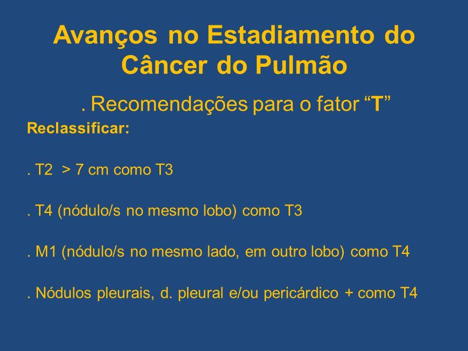 Avanços no Estadiamento do Câncer do Pulmão. Recomendações para o fator T Reclassificar:. T2 > 7 cm como T3. T4 (nódulo/s no mesmo lobo) como T3. M1 (