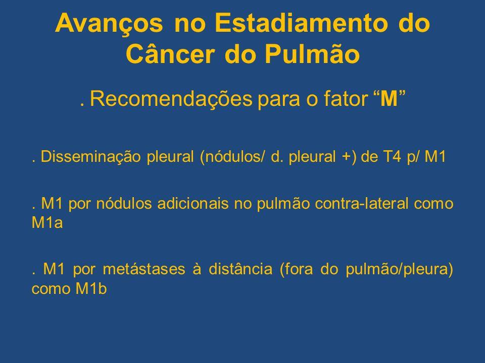 Avanços no Estadiamento do Câncer do Pulmão. Recomendações para o fator M. Disseminação pleural (nódulos/ d. pleural +) de T4 p/ M1. M1 por nódulos ad