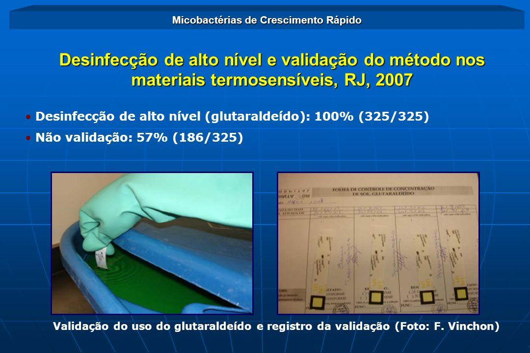 Desinfecção de alto nível (glutaraldeído): 100% (325/325) Não validação: 57% (186/325) Desinfecção de alto nível e validação do método nos materiais t