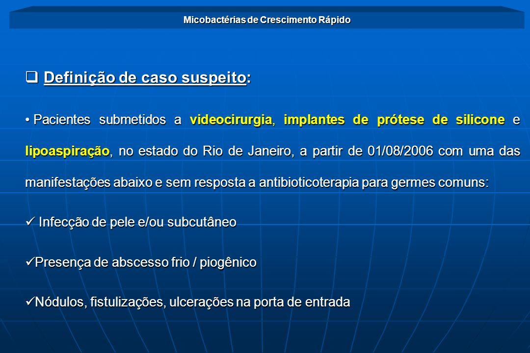 Surto de infecções por MCRs no estado do Rio de Janeiro Definição de Caso Confirmado Definição de Caso Confirmado Caso suspeito com um dos seguintes resultados laboratoriais: -Isolamento de Micobacteria Não Tuberculosa (MNTB) em cultura -Baciloscopia positiva (BAAR +) -Exame histopatológico com reação inflamatória do tipo granulomatosa, com ou sem necrose caseosa
