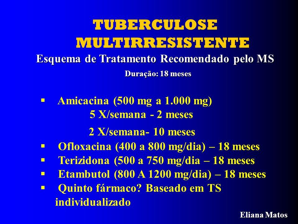 TUBERCULOSE MULTIRRESISTENTE Esquema de Tratamento Recomendado pelo MS Duração: 18 meses Duração: 18 meses Amicacina (500 mg a 1.000 mg) 5 X/semana -