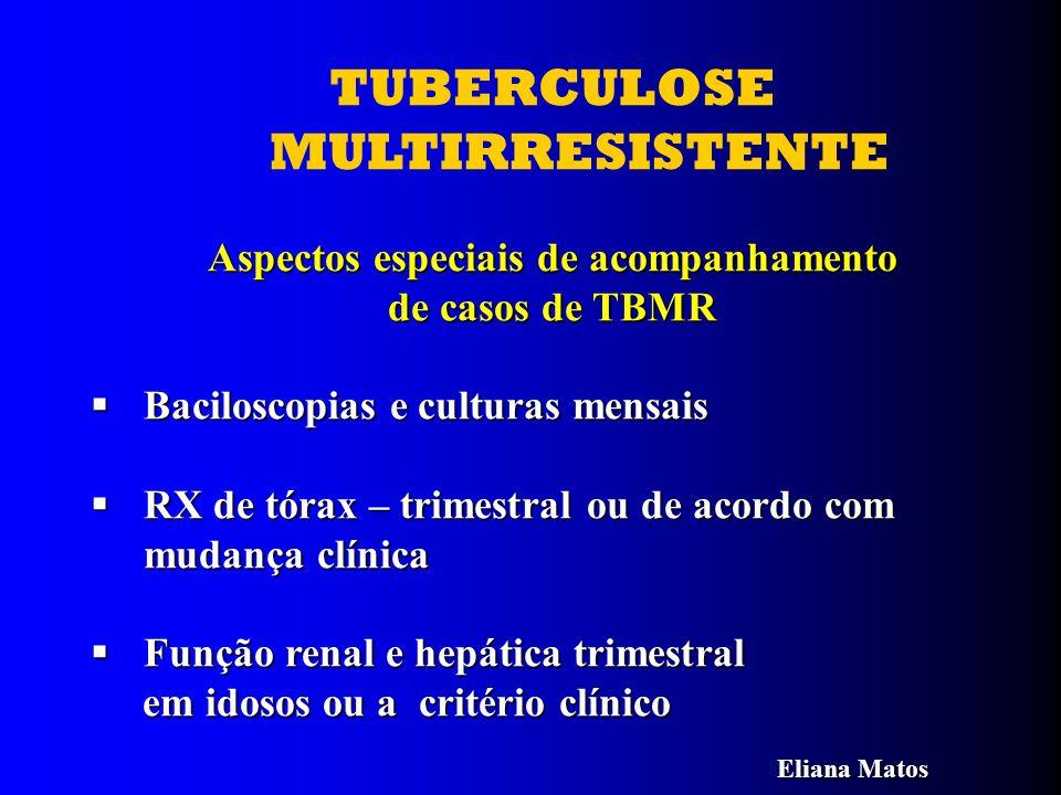 TUBERCULOSE MULTIRRESISTENTE Aspectos especiais de acompanhamento de casos de TBMR Baciloscopias e culturas mensais Baciloscopias e culturas mensais R
