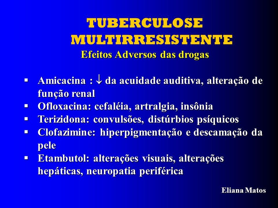 TUBERCULOSE MULTIRRESISTENTE Efeitos Adversos das drogas Amicacina : da acuidade auditiva, alteração de função renal Amicacina : da acuidade auditiva,