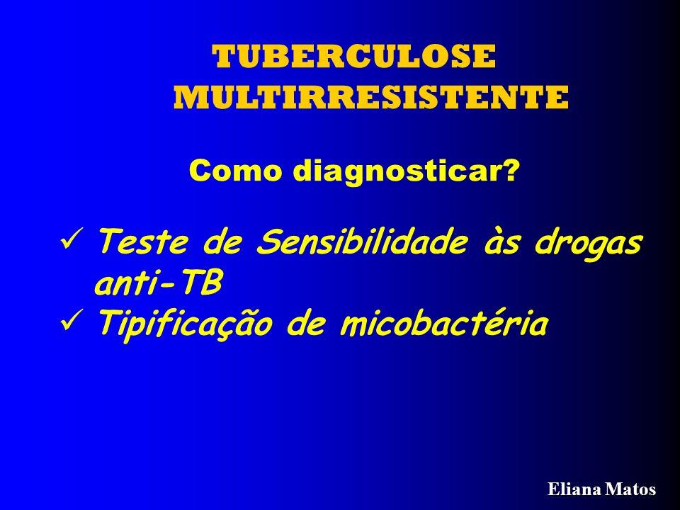 TUBERCULOSE MULTIRRESISTENTE Como diagnosticar? Teste de Sensibilidade às drogas anti-TB Tipificação de micobactéria Eliana Matos