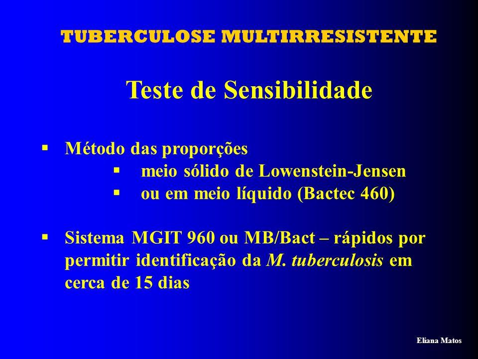 TUBERCULOSE MULTIRRESISTENTE Teste de Sensibilidade Método das proporções meio sólido de Lowenstein-Jensen ou em meio líquido (Bactec 460) Sistema MGI