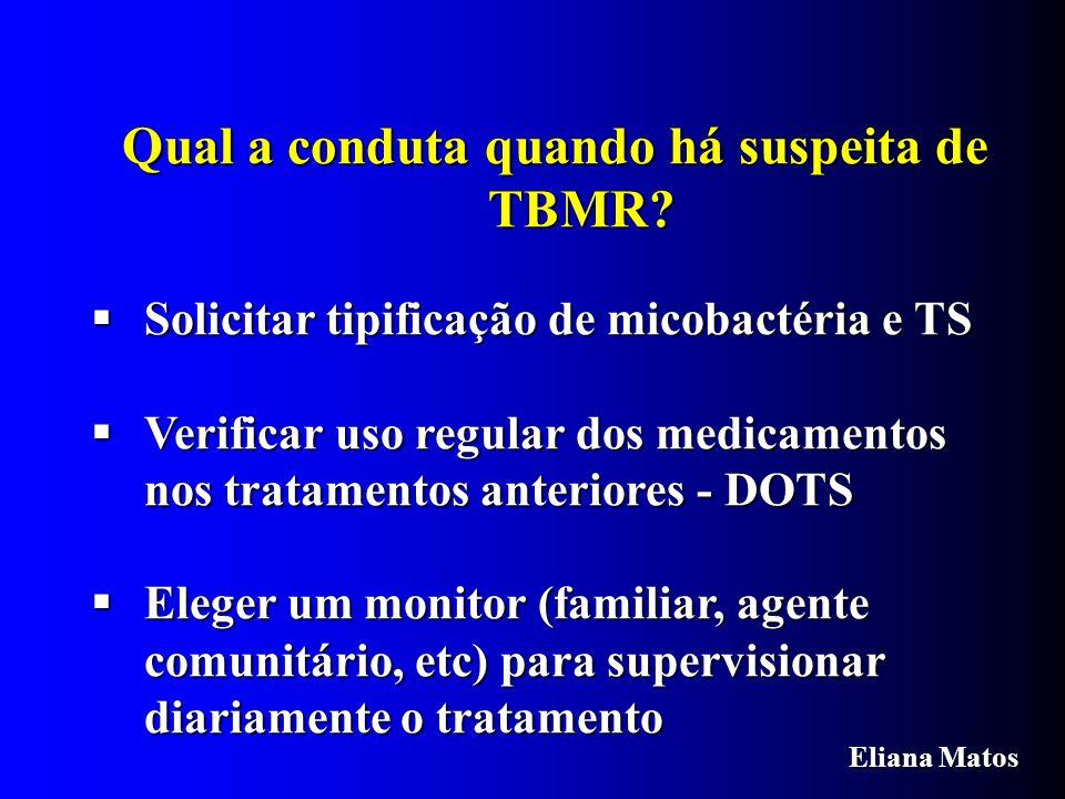 Qual a conduta quando há suspeita de TBMR? Solicitar tipificação de micobactéria e TS Solicitar tipificação de micobactéria e TS Verificar uso regular