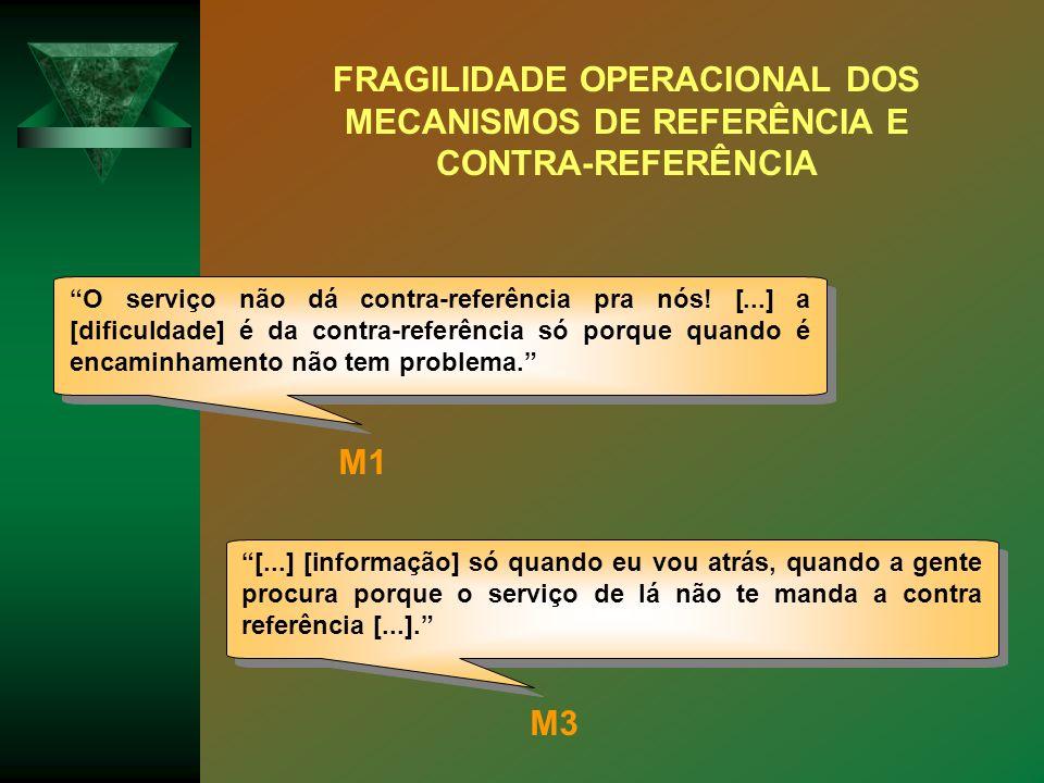 O serviço não dá contra-referência pra nós! [...] a [dificuldade] é da contra-referência só porque quando é encaminhamento não tem problema. [...] [in