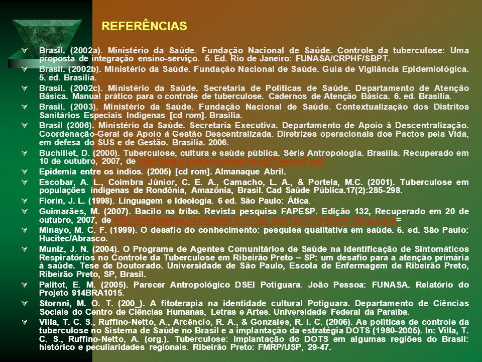 Brasil. (2002a). Ministério da Saúde. Fundação Nacional de Saúde. Controle da tuberculose: Uma proposta de integração ensino-serviço. 5. Ed. Rio de Ja