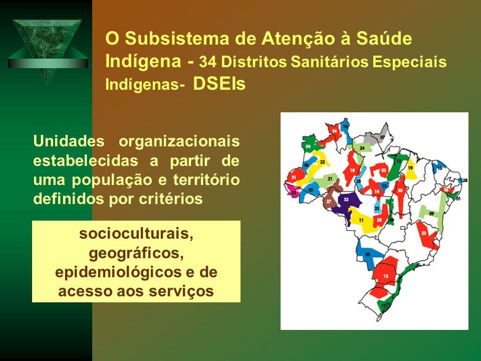 O Subsistema de Atenção à Saúde Indígena - 34 Distritos Sanitários Especiais Indígenas- DSEIs Unidades organizacionais estabelecidas a partir de uma p