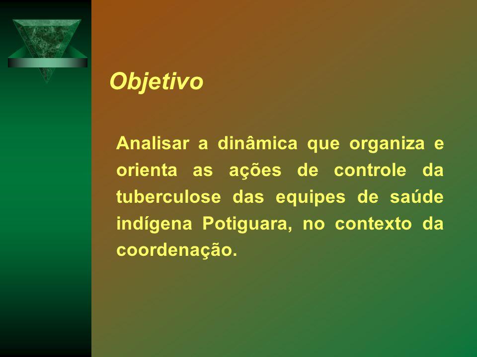 Analisar a dinâmica que organiza e orienta as ações de controle da tuberculose das equipes de saúde indígena Potiguara, no contexto da coordenação. Ob