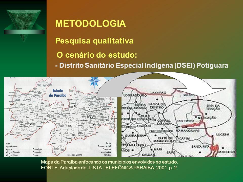 METODOLOGIA Pesquisa qualitativa O cenário do estudo: - Distrito Sanitário Especial Indígena (DSEI) Potiguara Mapa da Paraíba enfocando os municípios