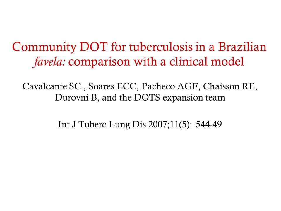 Community DOT for tuberculosis in a Brazilian favela: comparison with a clinical model Cavalcante SC, Soares ECC, Pacheco AGF, Chaisson RE, Durovni B,
