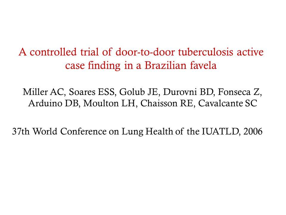 A controlled trial of door-to-door tuberculosis active case finding in a Brazilian favela Miller AC, Soares ESS, Golub JE, Durovni BD, Fonseca Z, Ardu