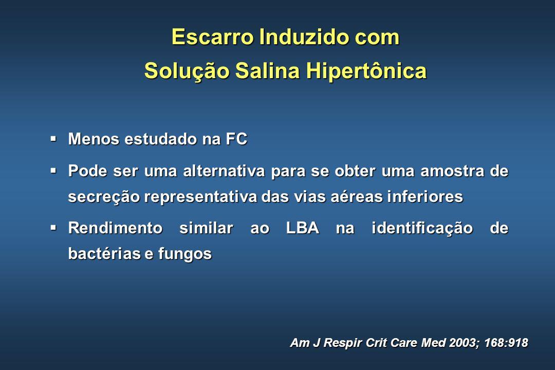 Escarro Induzido com Solução Salina Hipertônica Menos estudado na FC Menos estudado na FC Pode ser uma alternativa para se obter uma amostra de secreç