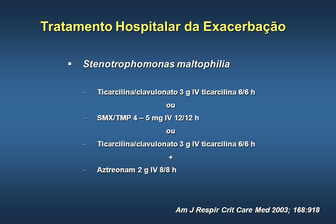 Tratamento Hospitalar da Exacerbação Stenotrophomonas maltophilia Stenotrophomonas maltophilia Ticarcilina/clavulonato 3 g IV ticarcilina 6/6 h Ticarc