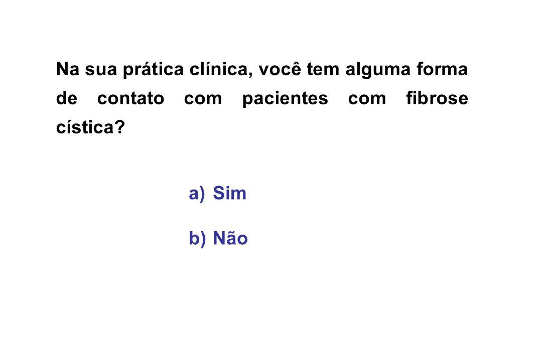 Na sua prática clínica, você tem alguma forma de contato com pacientes com fibrose cística? a) a)Sim b) b)Não