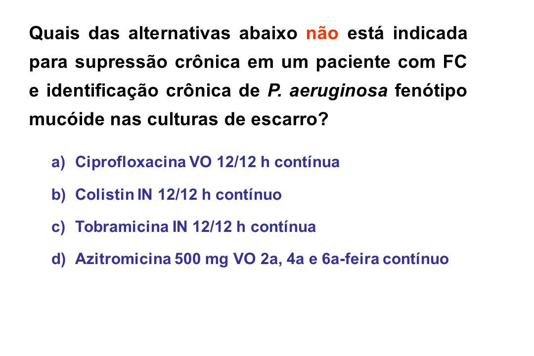 Quais das alternativas abaixo não está indicada para supressão crônica em um paciente com FC e identificação crônica de P. aeruginosa fenótipo mucóide
