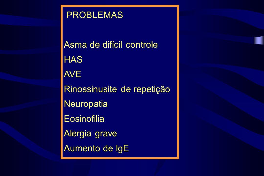 PROBLEMAS Asma de difícil controle HAS AVE Rinossinusite de repetição Neuropatia Eosinofilia Alergia grave Aumento de IgE