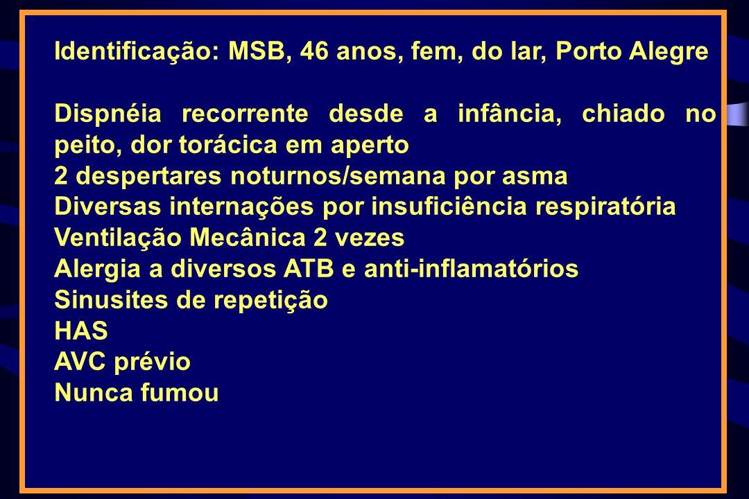 Identificação: MSB, 46 anos, fem, do lar, Porto Alegre Dispnéia recorrente desde a infância, chiado no peito, dor torácica em aperto 2 despertares not