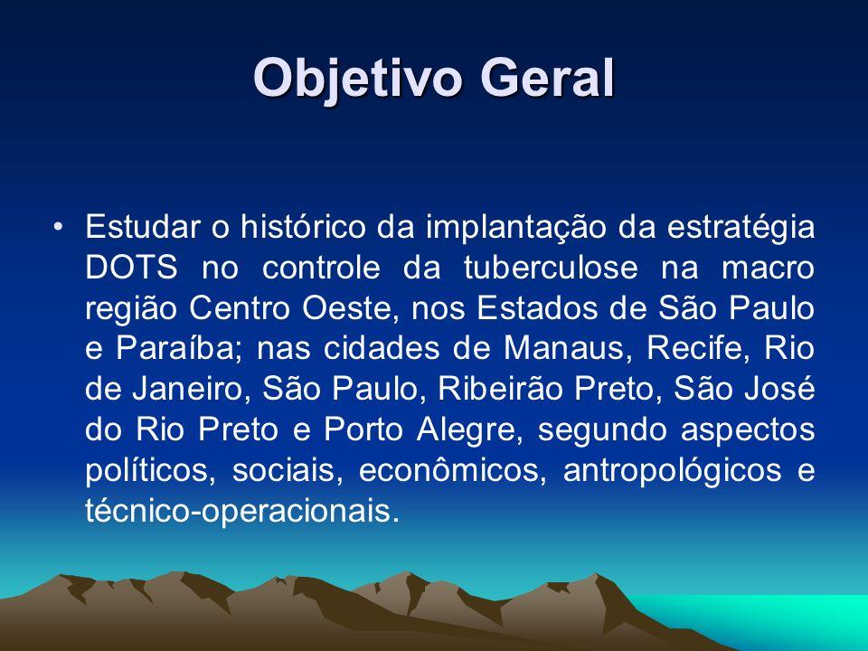 Objetivo Geral Estudar o histórico da implantação da estratégia DOTS no controle da tuberculose na macro região Centro Oeste, nos Estados de São Paulo