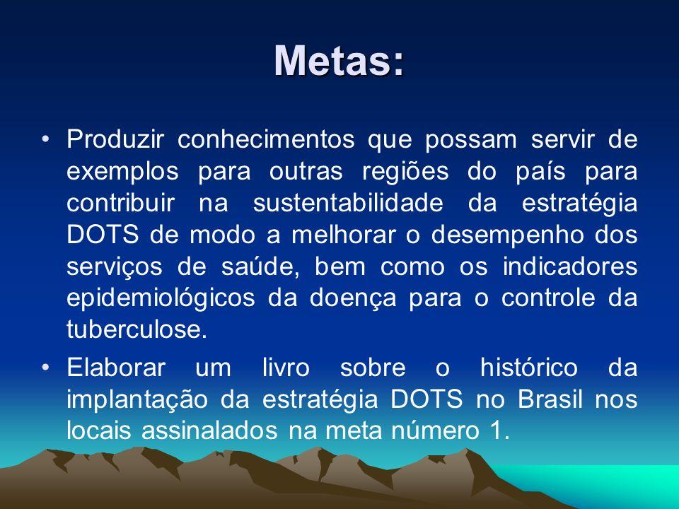 Metas: Produzir conhecimentos que possam servir de exemplos para outras regiões do país para contribuir na sustentabilidade da estratégia DOTS de modo