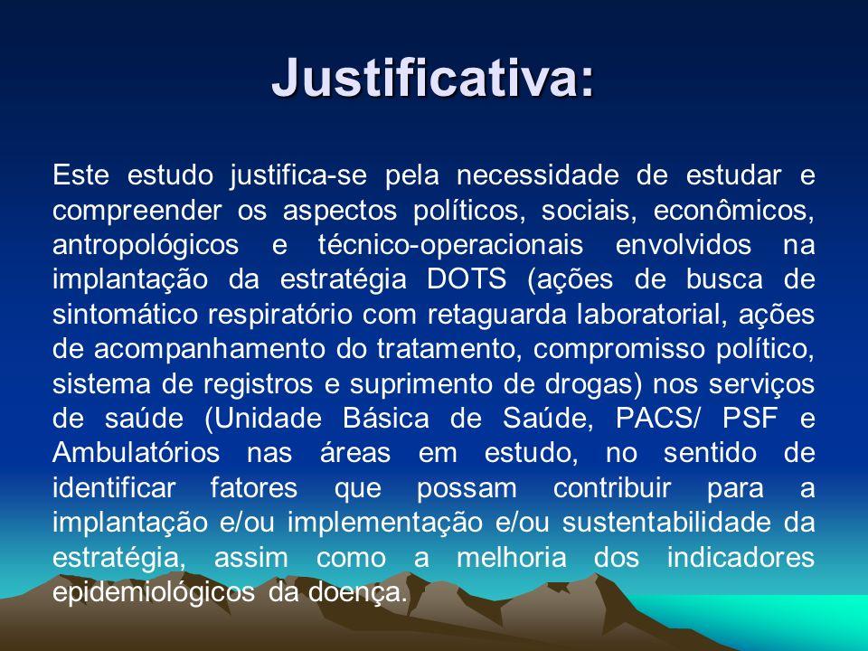 Justificativa: Este estudo justifica-se pela necessidade de estudar e compreender os aspectos políticos, sociais, econômicos, antropológicos e técnico