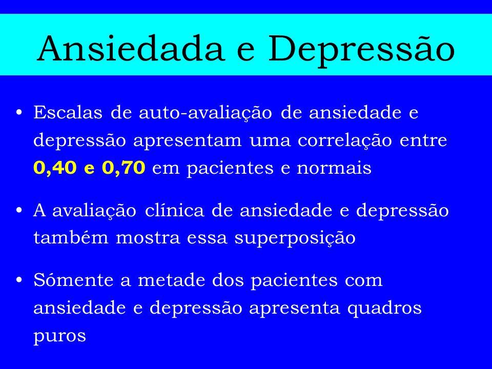 Ansiedada e Depressão Escalas de auto-avaliação de ansiedade e depressão apresentam uma correlação entre 0,40 e 0,70 em pacientes e normais A avaliaçã