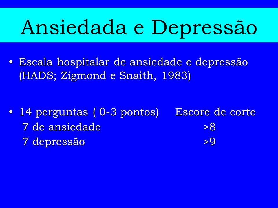 Ansiedada e Depressão Escala hospitalar de ansiedade e depressão (HADS; Zigmond e Snaith, 1983)Escala hospitalar de ansiedade e depressão (HADS; Zigmo