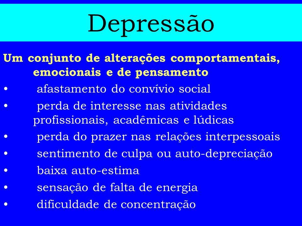 Depressão Um conjunto de alterações comportamentais, emocionais e de pensamento afastamento do convívio social perda de interesse nas atividades profi