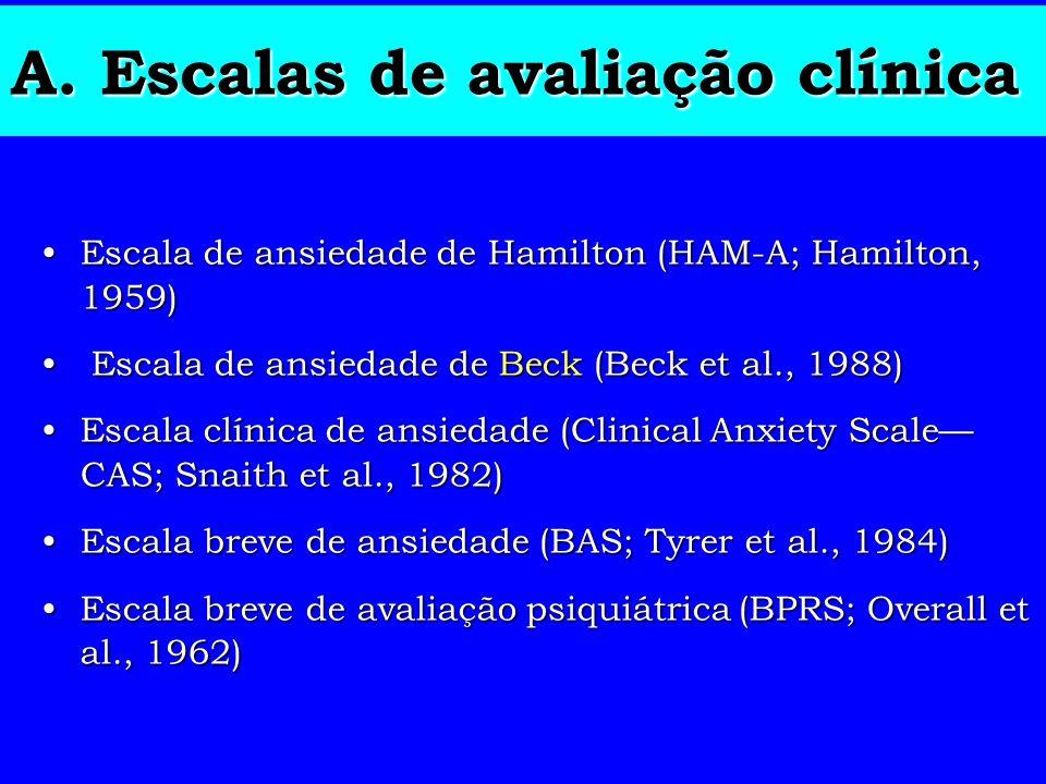 A. Escalas de avaliação clínica Escala de ansiedade de Hamilton (HAM-A; Hamilton, 1959)Escala de ansiedade de Hamilton (HAM-A; Hamilton, 1959) Escala