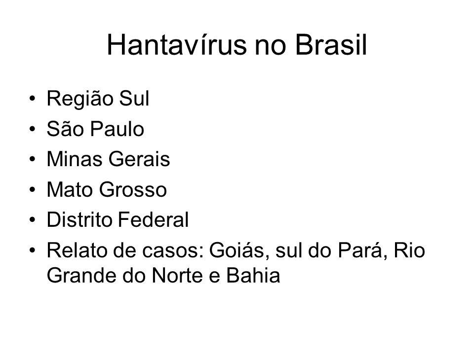 Hantavírus no Brasil Região Sul São Paulo Minas Gerais Mato Grosso Distrito Federal Relato de casos: Goiás, sul do Pará, Rio Grande do Norte e Bahia