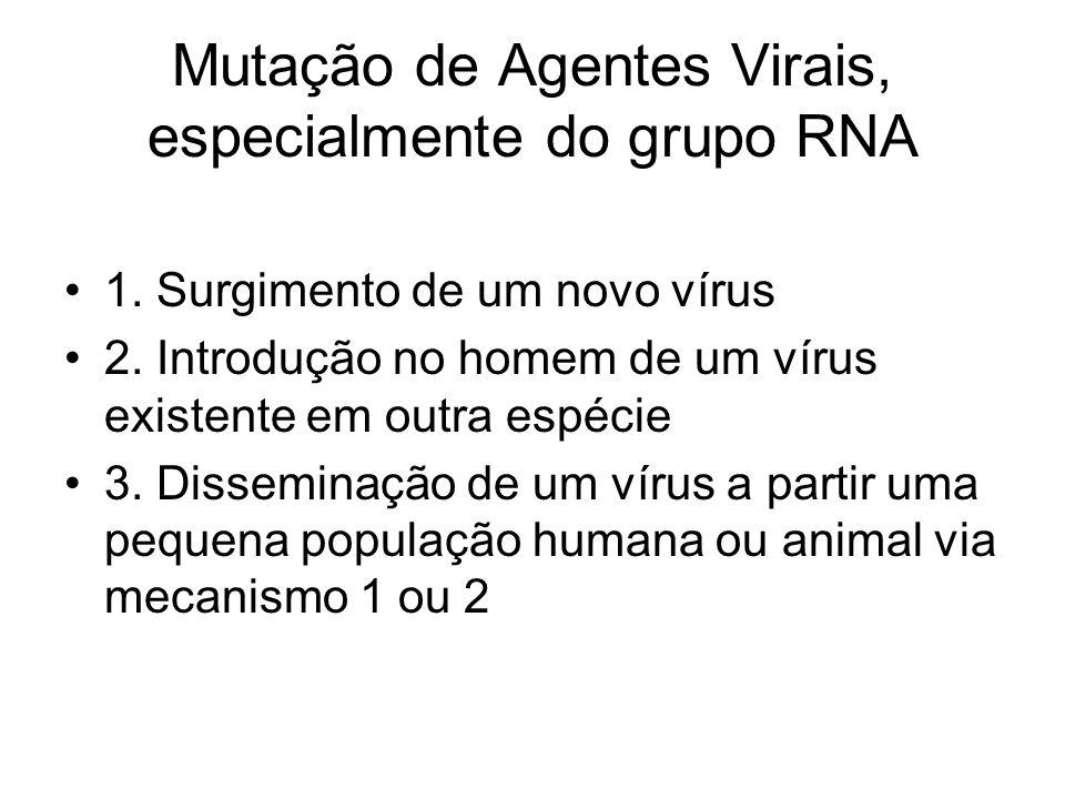 Mutação de Agentes Virais, especialmente do grupo RNA 1. Surgimento de um novo vírus 2. Introdução no homem de um vírus existente em outra espécie 3.