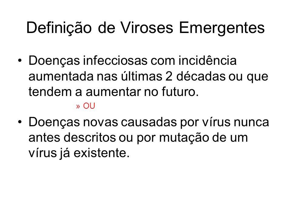Definição de Viroses Emergentes Doenças infecciosas com incidência aumentada nas últimas 2 décadas ou que tendem a aumentar no futuro. »OU Doenças nov