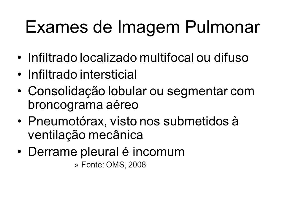 Exames de Imagem Pulmonar Infiltrado localizado multifocal ou difuso Infiltrado intersticial Consolidação lobular ou segmentar com broncograma aéreo P
