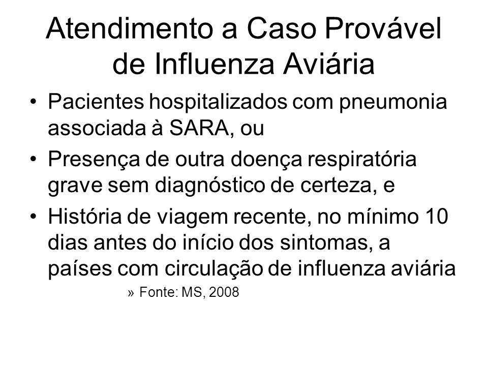 Atendimento a Caso Provável de Influenza Aviária Pacientes hospitalizados com pneumonia associada à SARA, ou Presença de outra doença respiratória gra