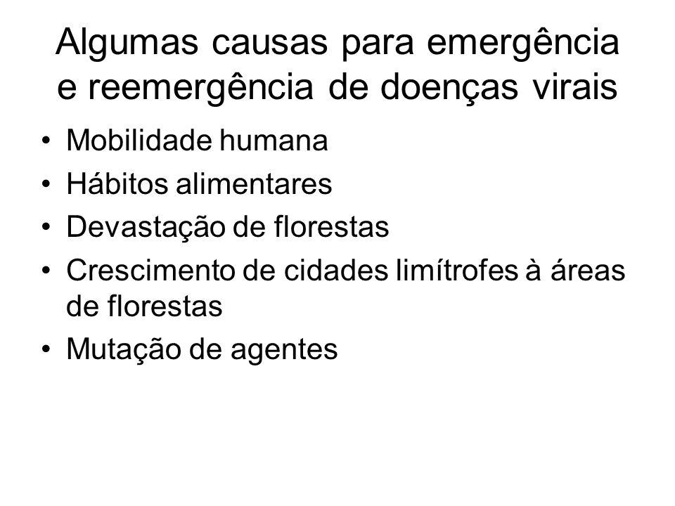 Algumas causas para emergência e reemergência de doenças virais Mobilidade humana Hábitos alimentares Devastação de florestas Crescimento de cidades l
