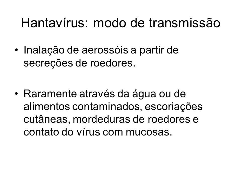 Hantavírus: modo de transmissão Inalação de aerossóis a partir de secreções de roedores. Raramente através da água ou de alimentos contaminados, escor