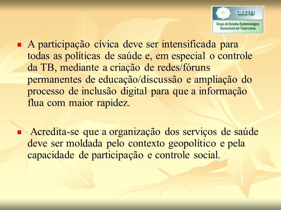 A participação cívica deve ser intensificada para todas as políticas de saúde e, em especial o controle da TB, mediante a criação de redes/fóruns permanentes de educação/discussão e ampliação do processo de inclusão digital para que a informação flua com maior rapidez.