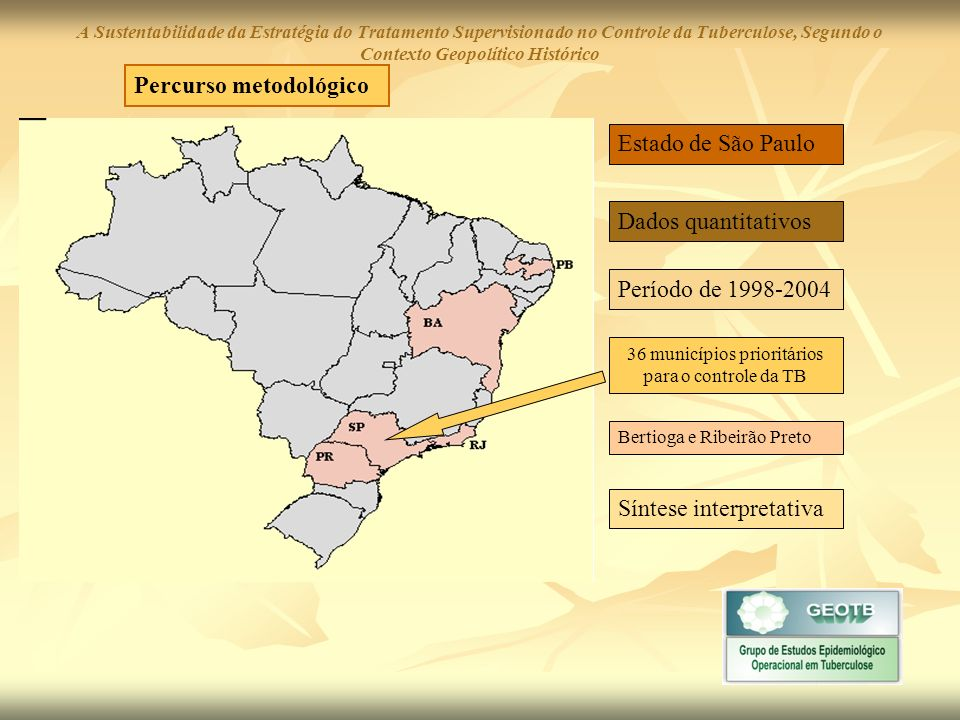 Municípios de Pequeno Porte Populacional A Sustentabilidade da Estratégia do Tratamento Supervisionado no Controle da Tuberculose, Segundo o Contexto Geopolítico Histórico