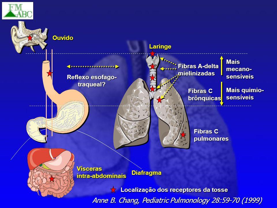 Anne B. Chang, Pediatric Pulmonology 28:59-70 (1999) Diafragma Laringe Fibras A-delta mielinizadas Maismecano-sensíveis Mais quimio- sensíveis Fibras