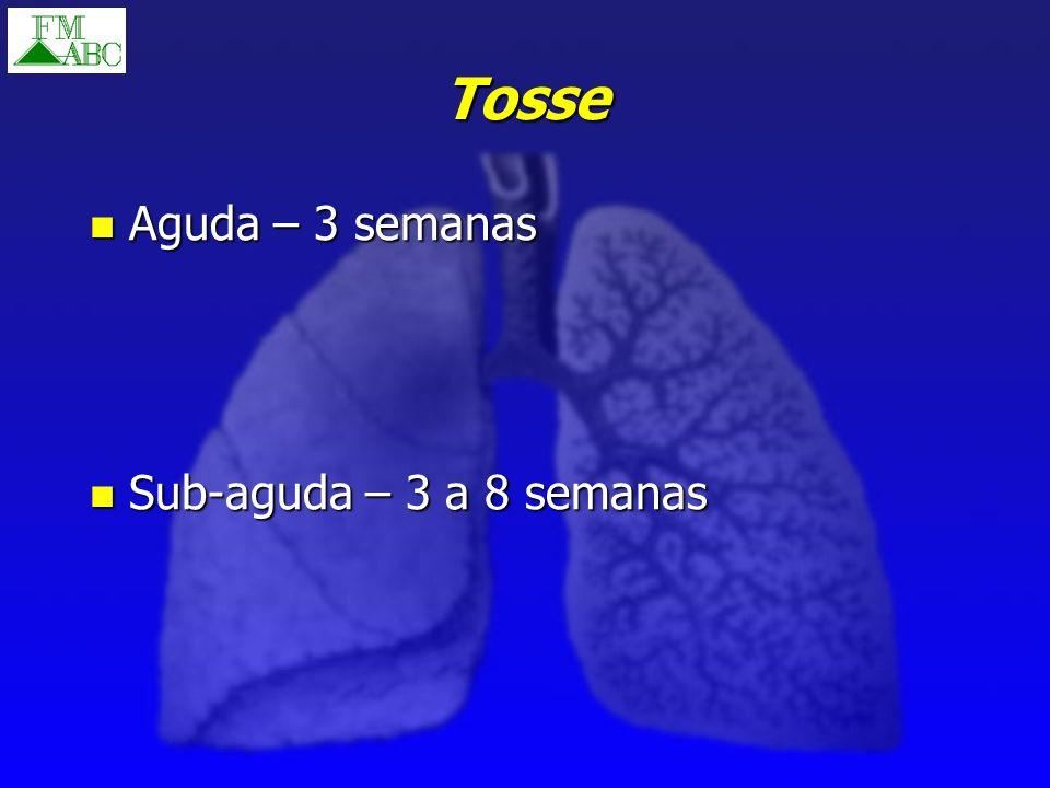 Tosse Aguda – 3 semanas Aguda – 3 semanas Sub-aguda – 3 a 8 semanas Sub-aguda – 3 a 8 semanas