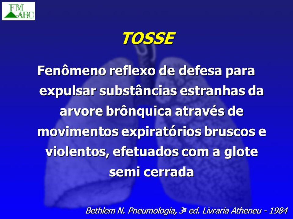 TOSSE Fenômeno reflexo de defesa para expulsar substâncias estranhas da arvore brônquica através de movimentos expiratórios bruscos e violentos, efetu