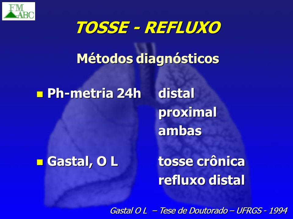 TOSSE - REFLUXO Ph-metria 24hdistal Ph-metria 24hdistalproximalambas Gastal, O Ltosse crônica Gastal, O Ltosse crônica refluxo distal Métodos diagnóst