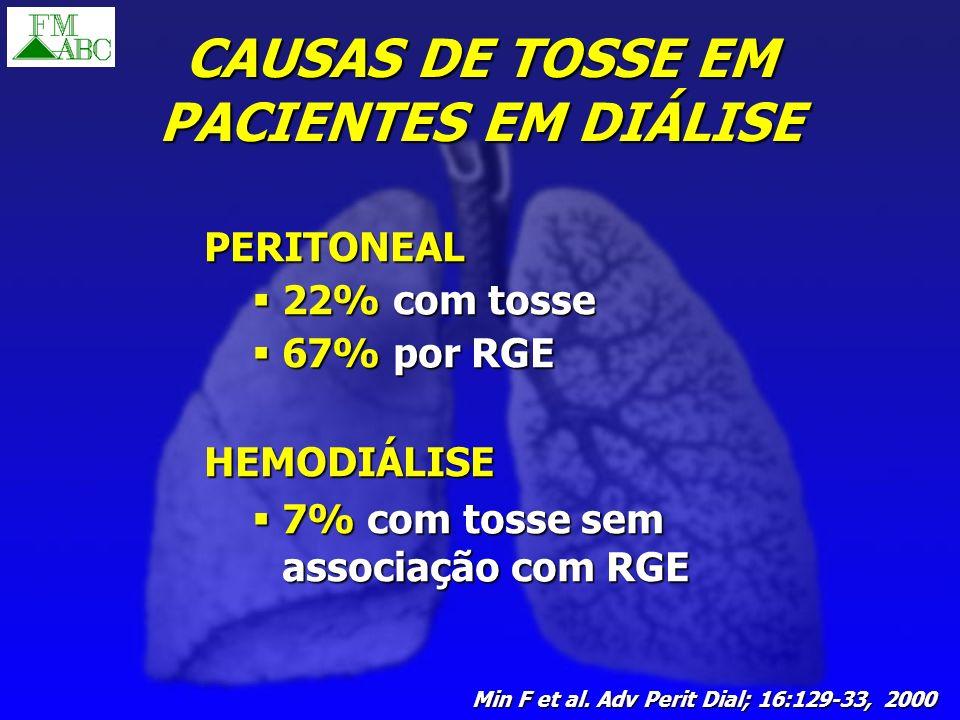 CAUSAS DE TOSSE EM PACIENTES EM DIÁLISE PERITONEAL 22% com tosse 22% com tosse 67% por RGE 67% por RGE HEMODIÁLISE 7% com tosse sem associação com RGE